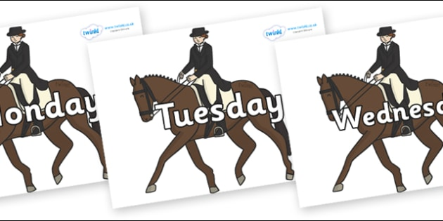 Days of the Week on Equestrian (Horses) - Days of the Week, Weeks poster, week, display, poster, frieze, Days, Day, Monday, Tuesday, Wednesday, Thursday, Friday, Saturday, Sunday