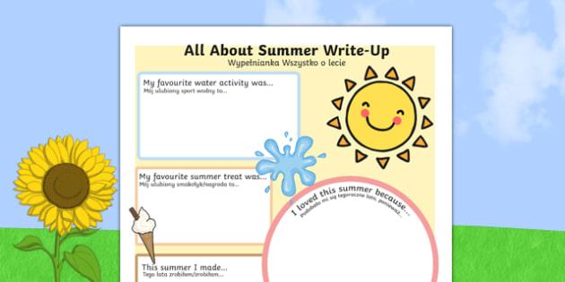 Summer Holiday Write Up Worksheet / Activity Sheet Polish Translation - polish, seasons, holidays, terms, worksheet