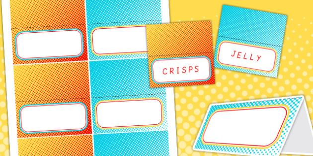 Superhero Themed Birthday Party Editable Food Lable - superheroes