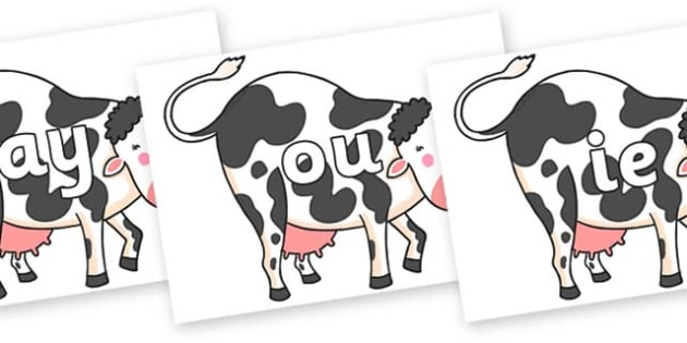 Phase 5 Phonemes on Hullabaloo Cow to Support Teaching on Farmyard Hullabaloo - Phonemes, phoneme, Phase 5, Phase five, Foundation, Literacy, Letters and Sounds, DfES, display