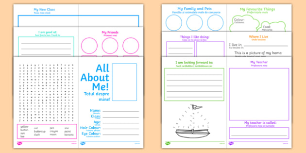 All About Me KS1 Activity Booklet Romanian Translation - romanian, transition, key stage 1, Year 1, Year 2, end of term, new starter
