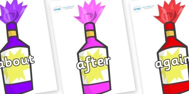 KS1 Keywords on Party Poppers - KS1, CLL, Communication language and literacy, Display, Key words, high frequency words, foundation stage literacy, DfES Letters and Sounds, Letters and Sounds, spelling