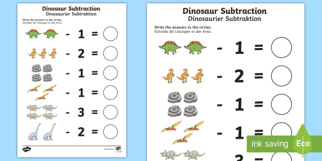 dinosaur themed subtraction worksheet activity sheet. Black Bedroom Furniture Sets. Home Design Ideas