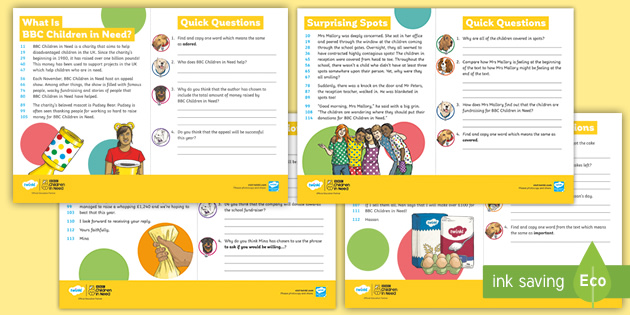 LKS2 60-Second Reads: BBC Children in Need Activity Pack