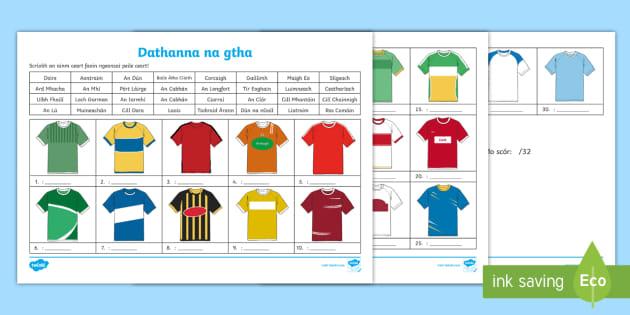 uk availability 82f56 24673 GAA County Jersey Colours Worksheet Gaeilge - GAA, County ...