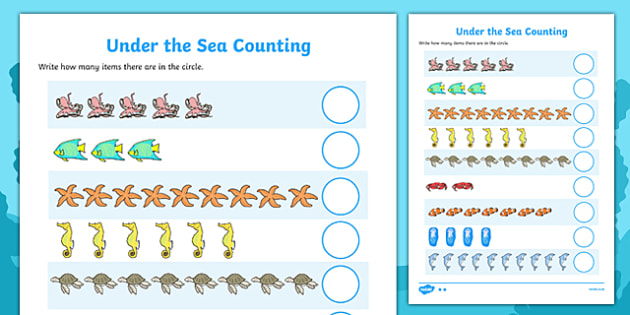 Under the Sea Counting Worksheet / Activity Sheet - Counting worksheet, 1-1, one to one, sea creatures, counting, activity, many, foundation numeracy, counting on, counting back, fish, octopus, sea, seaside, water, tide, fish, sea creatures, shark, w