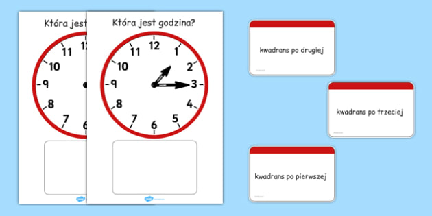 Zegar analogowy Kwadrans po po polsku - godzina, czas