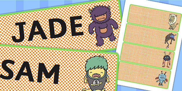 Monster Themed Drawer Peg Name Labels - monster, name, labels
