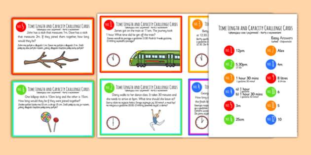 Time, Length and Capacity Problem Solving Challenge Cards Polish Translation - polish, time, length, capacity, problem solving, challenge cards