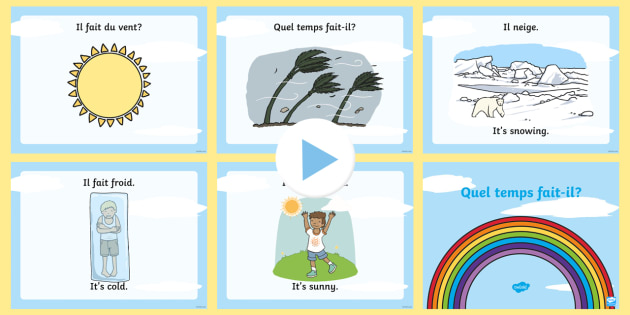 weather quiz powerpoint french les temps weather french