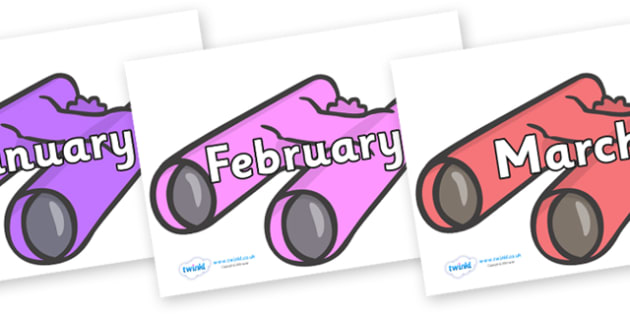 Months of the Year on Binoculars - Months of the Year, Months poster, Months display, display, poster, frieze, Months, month, January, February, March, April, May, June, July, August, September
