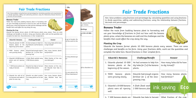 Ks2 Fair Trade Fractions Differentiated Worksheet Activity
