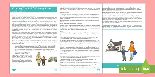 Choosing Your Child's Primary School Parent and Carer Information Sheet