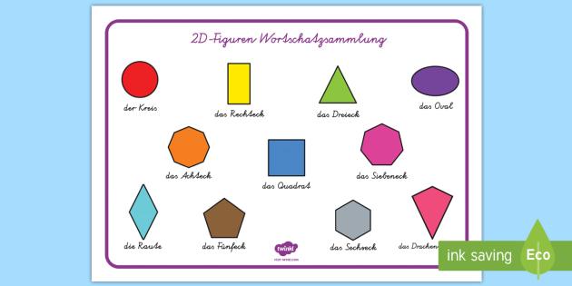 2D Shape Word Mat German - german, 2d shape, word mat, 2d, shape, maths, numeracy