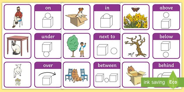 Preposition symbols boards and flash cards basic teaching ~SEN~Autism~Schools