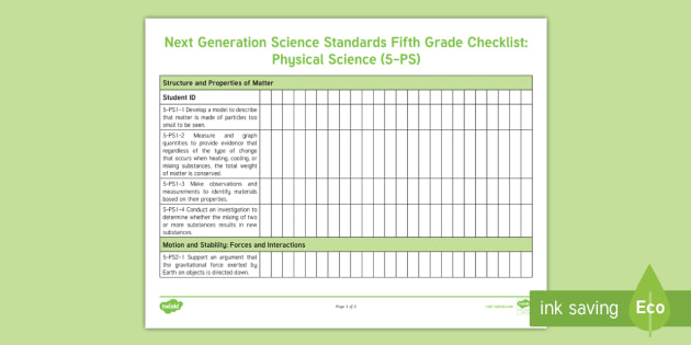 New Next Generation Science Standards Fifth Grade Student