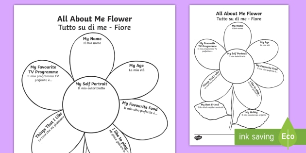 All About Me Template | All About Me Flower Writing Template English Italian Ourselves
