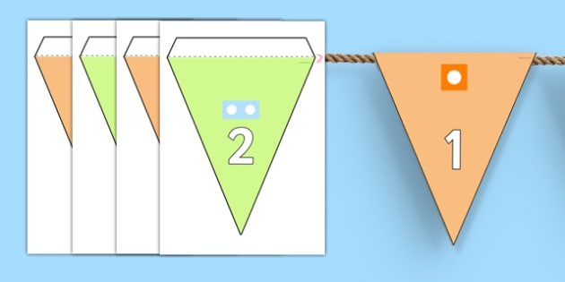 Number Line to 20 With Counting Shapes Bunting - display, bunting