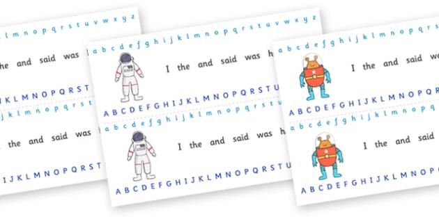 Alphabet Strips (Space) - education, home school, child development, children activities, free