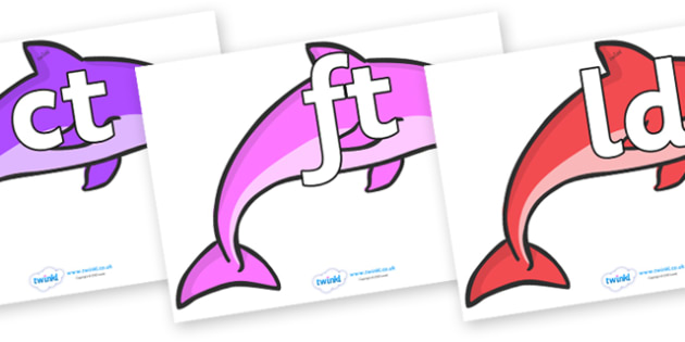 Final Letter Blends on Dolphins (Multicolour) - Final Letters, final letter, letter blend, letter blends, consonant, consonants, digraph, trigraph, literacy, alphabet, letters, foundation stage literacy
