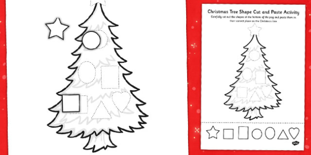 Christmas Tree Shape Cut and Paste Activity - christmas, shape