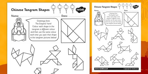 graphic about Tangram Shapes Printable identify Tangram Worksheet - Coloration inside the Tangram designs