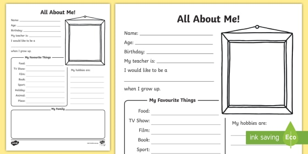 photo regarding All About Me Printable Worksheet called Absolutely free! - All In excess of Me Worksheet - ourselves, myself, impression