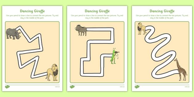 Dancing Giraffe Themed Pencil Control Path Worksheets - Giraffes Can't Dance, motor skills, drawing, writing patterns
