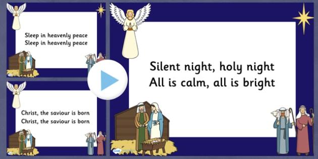 Silent Night Christmas Carol Lyrics PowerPoint - silent night, christmas, christmas carol, lyrics powerpoint, christmas songs, sing-a-long, sing along