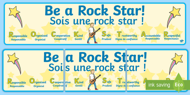 Sois une rock star Display Banner English/French - Banner, display, encouraging, star,