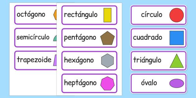 2D Shape Word Cards Spanish - spanish, 2d shape, word cards, word, cards, maths, numeracy, shape