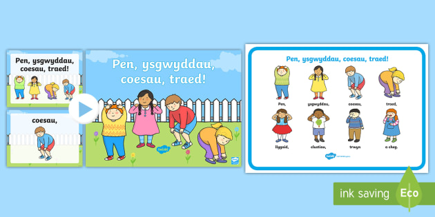 Head, Shoulders, Knees and Toes Display Pack Welsh - Welsh Second Language, Welsh, Welsh song, Welsh rhyme.,Welsh