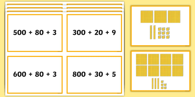 expanded form 3 digit numbers  Three-Digit Numbers Expanded Form Matching Cards - Number ...
