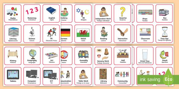 new   sen visual timetable - english    spanish