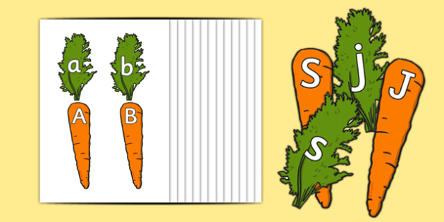 Carrot Upper and Lower Case Matching Activity Pack