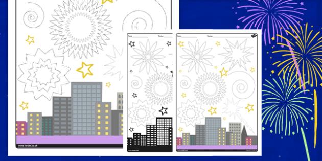 Firework Sky Pencil Control Worksheet - firework, pencil control