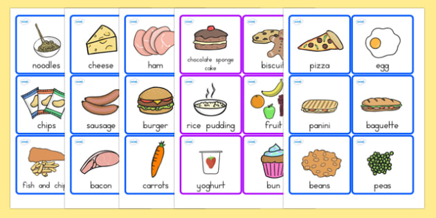 Food Cards - food, food words, word cards, flashcards, visual aid