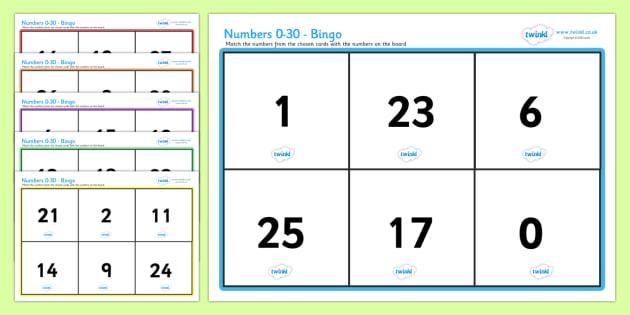 Numbers 0 30 Bingo - bingo, lotto, number games, math, counting