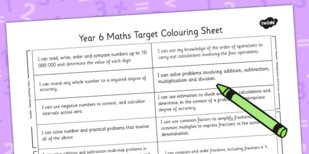 2014 National Curriculum Year 6 Maths Target Colouring Sheet - numeracy