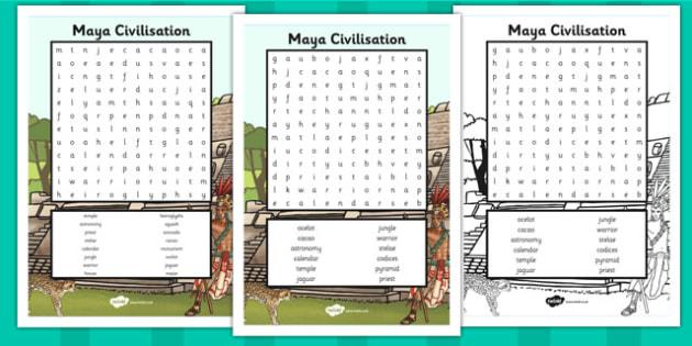 Maya Civilisation Word Search - History Resource - Twinkl