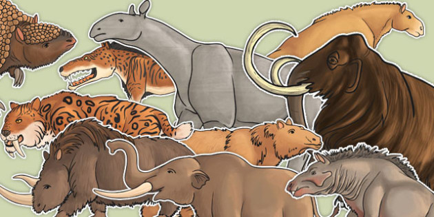 Stone Age Animals Large Display Cut Out Pack - stone age, animals, display
