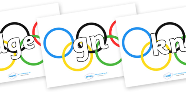 Silent Letters on Olympic Rings - Silent Letters, silent letter, letter blend, consonant, consonants, digraph, trigraph, A-Z letters, literacy, alphabet, letters, alternative sounds