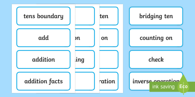 Year 2 2014 National Curriculum Addition and Subtraction Vocabulary Card