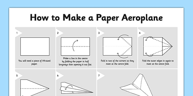 How to Make a Paper Aeroplane - how to make a paper aeroplane, aeroplane, plane, paper plane, dipslay, poster, sign, how to make, activity instruction