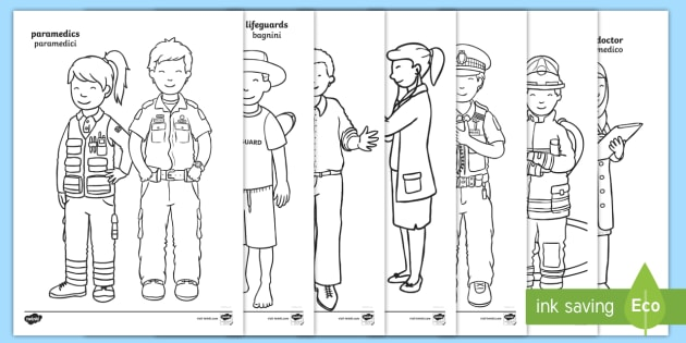 NEW * People Who Help Us Colouring Pages English/Italian