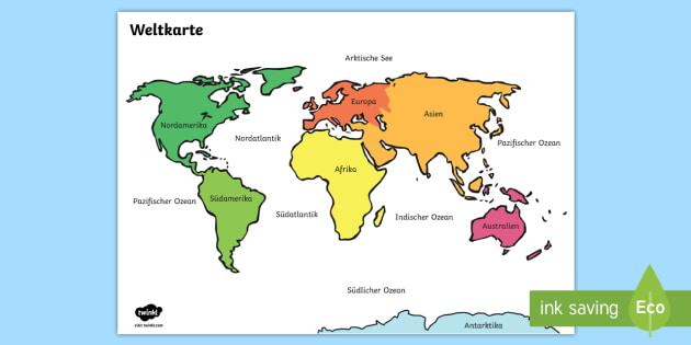 Weltkarte Kontinente Poster Fur Die Klassenraumgestaltung