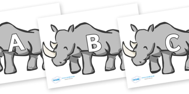 A-Z Alphabet on Rhinos - A-Z, A4, display, Alphabet frieze, Display letters, Letter posters, A-Z letters, Alphabet flashcards