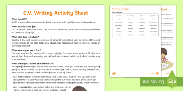 cv worksheet    worksheet