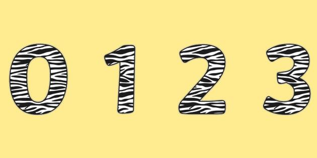 Zebra Pattern Display Numbers (Small) - safari, safari numbers, safari display numbers, zebra display numbers, zebra pattern display numbers, zebra skin
