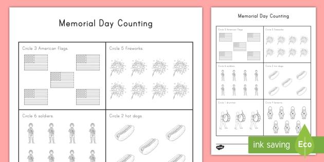 Memorial Day Counting Worksheet Activity Sheet Memorial Day